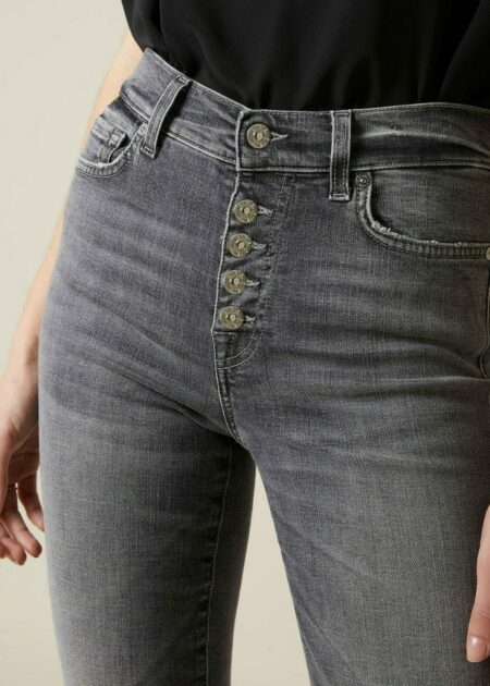 JEANS HIGH WAIST STRAIGHT CROPPED SOHO GREY EXPOSED